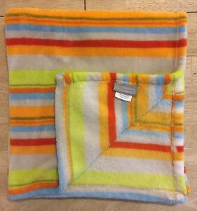 Blankets & Beyond Fleece Baby Blanket Plush Stripes Green Orange Red Gray Blue