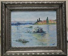 Dew Vintage Impression Lake Landscape Oil Painting in Ornate Silver Finish Frame