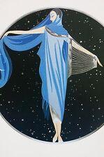 Erte 1987 MOONLIGHT Lady in Blue STARRY NIGHT Crescent Moon Art Deco Matte Print