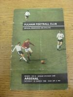 23/03/1968 Fulham v Arsenal  (Creased, Folded, Team Changes). Item appears to be