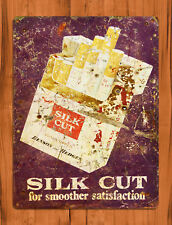"TIN SIGN ""Silk Cut"" Tobacco Cigarette Benson Hedges Rustic Wall Decor"