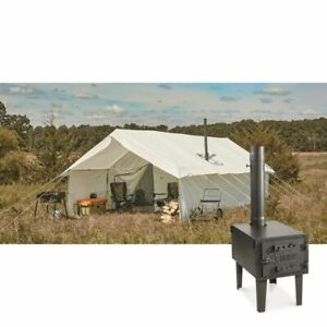 12 x 18 Canvas Wall Tent Bundle w/ Wood Stove, Porch, Floor, Frame, & Rainfly!