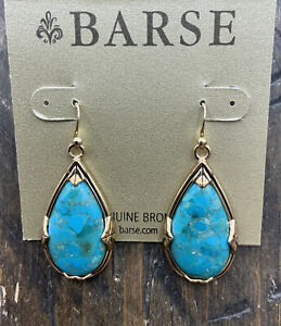 Barse Teardrop Earrings- Turquoise- Bronze- New with Tags