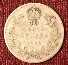 1929 ~ CANADA ~ 10 CENTS ~ GEORGE V ~ G4 Condition (b)