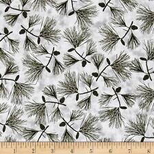 Fabric Pine Trees at Misty Dawn Black Boughs on Gray Cotton 1 yard S