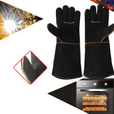 Premium Welders Welding  Gauntlets Reinforced Resistant Leather Gloves Black