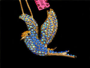 Betsey Johnson Crystal Blue Pigeon Peace Dove Pendant Sweater Chain Necklace