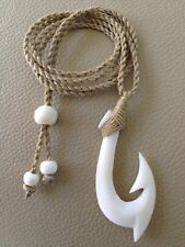 "Hawaiian Fishhook Necklace Carved From Buffalo Bone 2"" Tall. (1Year Warranty) ."