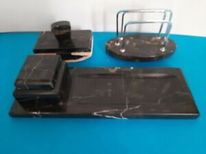 Alte Schreibtischgarnitur aus schwarzem Marmor - 3 teilig