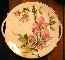 Antique Limoges France Hand Painted Cake Plate SIGNED Flowers Gold Trim Handles