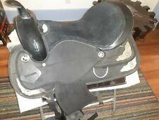 """Western Saddle used Synthetic black 16"""" seat Fqhb large stirrups."""