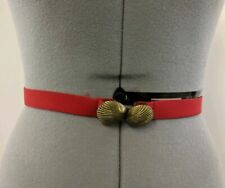 Dotty Smith ? Vintage Women's Belt Cloth Gold Tone Sea Shell Buckle Size S A13