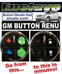 BUICK ENCLAVE AC BUTTON DECALS GM CLIMATE CONTROL REPAIR SET FADED