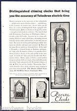 1930 Revere Clocks advertisement, TELECHRON electric clocks mantle & grandfather