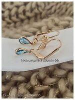 Boucle D'oreilles Goutte Cristal Aigue marine Plaqué Or 18 Carats Garanti Bijoux