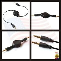 Gold Auxiliary Retractable Cable Cord for All MP3 iPod iPhone Samsung Cell Phone