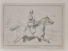 1875 Antique Print Woman HORSE Riding Cassell's Book of the Horse Mounted