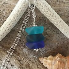 Handmade in Hawaii Triple blue sea glass necklace 925 Sterling Silver Chain