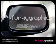 BMW M POWER MIRROR DECALS STICKERS GRAPHICS x 3 IN SILVER ETCH