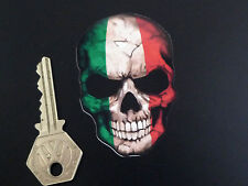 "ITALIAN Tricolore Style SKULL Bike or Car STICKER 3"" Italy Italia Flag Rocker"