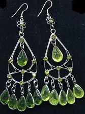 BohoCoho Boho Gothic Chandelier Long Silver & Green Teardrop Earrings  Free Post