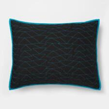 Set of 3 Pillowfort Triangle Stitch Pillow Shams Black and Blue Standard 20 x 26