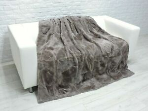 Mink Lambskin Throw Luxury Real FUR PATCHWORK Blanket Sofa Bed Cover BT04