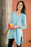 Soft Surroundings Sofia Tunic Top Long Sleeve Scoop Neck Metallic Womens Medium