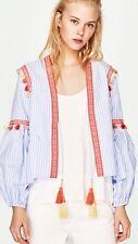 Zara a righe stile Boho Ricamato Giacca Blazer Con Nappe S UK 8 Blogger Fav