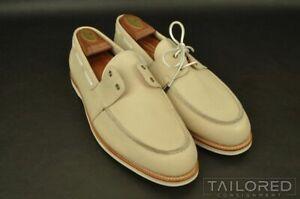JOHN LOBB Solid Ivory Leather Mens Moccasin Boat Shoes - UK 10 / US 11 E