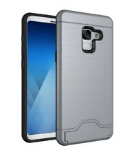 Samsung Galaxy A8 (2018) Shockproof Hybrid Card Slot Kickstand Hard Cover Case