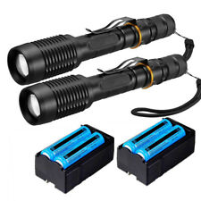 2x 990000LM Police Tactical LED Torch Light Military Powerful Flashlight&Charger