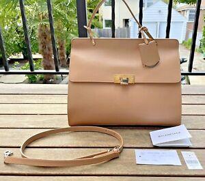 New BALENCIAGA Tan Large Le Dix Zip Cartable Handbag