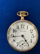 Nice  Antique SOUTH BEND 219  19j GOLD FILLED OPEN FACE POCKET WATCH Running