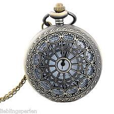 LP 1 Halskette Ketteuhr Taschenuhr Pocket Watch Rund Bronzefarben 87cm