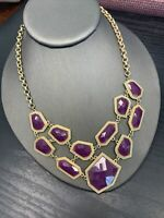 Vintage  Pink Purple Gold Tone Facetted cabochon Statement Jewelry Necklace  16""