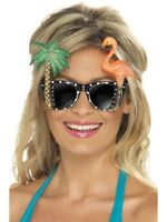 Glasses With Flamingo & Palm Tree - Ladies Hawaii Summer Fancy Dress Accessories
