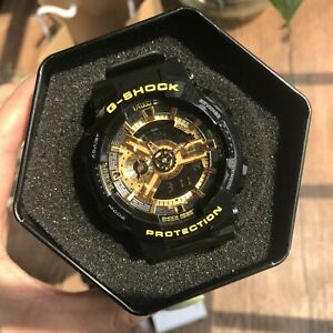 NEW G-Shock GA110GB-1A Men's Watch Black Gold Dial Resin Chronograph