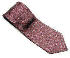 GUY LAROCHE  Neck Tie RED BLUE Muted Geometrical Vtg 100% SILK Necktie VINTAGE