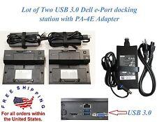 Lot of 2 USB 3.0 Dell E-Port replicator with adapter latitude E5400 E6400 more