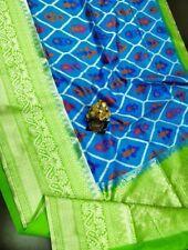 Spectacular Pattu Ikkat Pure Silk Saree Kanchi Border Blue Party Wedding Blouse
