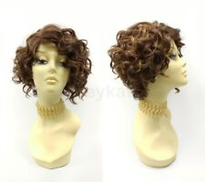 Pre-Cut Lace Front Short Curly Mixed Brown & Copper Wig Heat Resistant Side Part