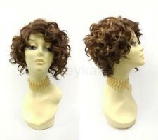 Lace Front Short Curly Mixed Brown Copper Wig Heat Resistant Side Part