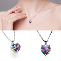 Women 925 Silver Rainbow Heart-shaped Pendant Jewelry Chain Necklace