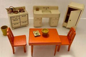 Vtg Strombecker Dollhouse Miniature 6-Piece + Orange & White Kitchen Set- 1940's