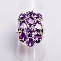 Eleganter Oval Lila Zirkonia Cluster Damen Ring 925 Silber rhodiniert 16,2 mm