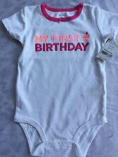 Girls 12 Months Bodysuit My First Birthday NEW NWT Snap Shirt S/S 1st Cupcake