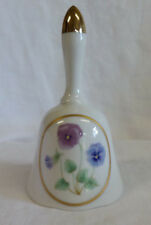 """Hand Bell Collectible 5.5"""" x 3"""" Porcelain Gold Top Gold Trim Multi Pansies Usa"""