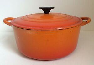 LE CREUSET Casserole Pan Dish Cast Iron Orange 24cm