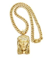 """ICED OUT JESUS PIECE WITH 12mm 30"""" ICED OUT MIAMI CUBAN CHAIN."""